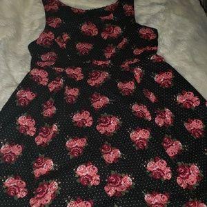 Torrid Flowers and polka dot Skater dress